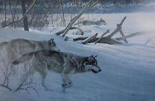 Vintage Art Robert Bateman Wolf Pack in Moonlight Snow Gray Winter Hunt Wild