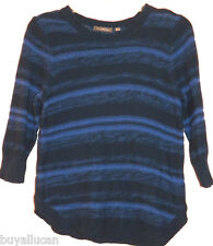NY Collection Women Sweater Three Quarters Sleeve 100% Cotton Blue Crewneck