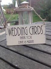 plaque chic 'Wedding Cards Thank You' shabby wedding sign Personalised