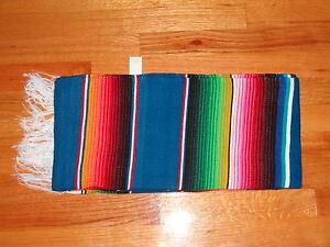 Sarape Serape Mexican Blanket, Saltillo Southwestern Color Turquoise