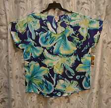 JM COLLECTION SILKY SATIN TROPICAL ORCHIDS BLOUSE TOP SHIRT SHELL~0X~XL~XXL~NEW