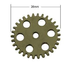 12 Antique Bronze Watch Charms - Steampunk Wheel Gears Cogs Pendants LF NF 26mm