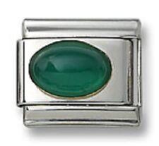 18K Italian Charm Green Agate Oval Stone Fit 9 mm Stainless Steel Link Bracelet