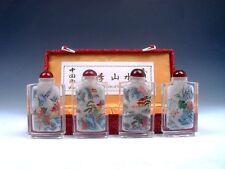 4 Peking Glass Inside Scenery Painted Snuff Bottles