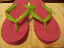 AVON PINK LIME WEDGE FLIP FLOPS SIZE 8  MEDIUM  NWOT