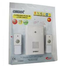 OMEGA 17322 rete plug in CORDLESS WIRELESS porta campana campanel TWIN BELL PUSH bianc