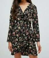 Parisian Women's Black Floral Wrap Frill Dress Size 10 New With Tags