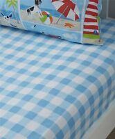 petit carreau bleu blanc simple 90x190+25cm Mélange de coton Drap housse