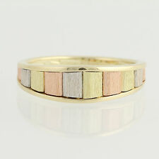 Tri-Toned Band Ring - 14k Yellow, White, & Rose Gold Tapered Women's Size 6