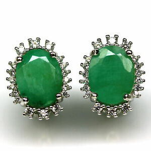 NATURAL 7 X 9 mm. GREEN EMERALD & WHITE CZ EARRINGS 925 STERLING SILVER