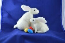 White Rabbit Easter Bunny Complete Needle Felting Kit or 2 Baby Bunnies and eggs