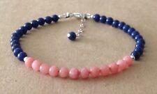 Lapis Lazuli+PINK CORAL Gemstone, Sterling Silver, Beaded Friendship Bracelet