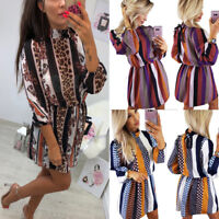 Women's Printed Dress High Neck Long Sleeve Clothing Evening Party Mini Dresses