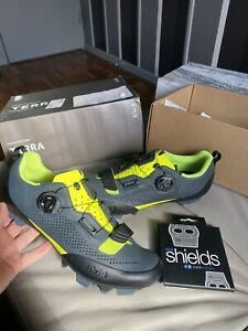 Fizik X5 Terra UK 7.5 Mountain Bike Shoes + Crank Brothers Sole Protectors New