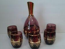 Vintage Purple Bohemian Decanter Set with 5 Glasses