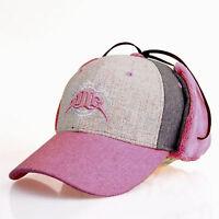 Wool Ear Wrap Flap 6Panel Outdoor Sport Winter Warmer Must Have Cap JR6P407 Pink