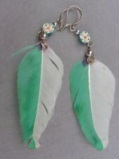 boucle d'oreilles PLUME fleur fimo pendentif perle métal dominance VERTE BLANCHE