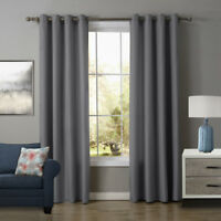 A pair Solid Window block Blinds Blockout curtain eyelet top gray 160 220 240