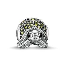 Zirconia Pavé green tortoise bead charm 925 silver plt fits european bracelets