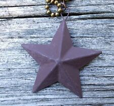 Primitive Barn Star Fan Pull Light Chain Rustic Brown Country