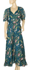 165754 New Denim & Supply Ralph Lauren Floral Green Wrap Maxi Coverup Dress XL