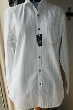 Men's Striped Long Sleeve Loose Fit Collared Casual Shirts & Tops