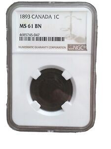 Canada Canadian Queen Victoria Large Cent NGC MS 61 1893