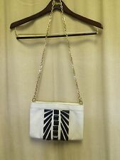 Cole Haan White Leather Handbag with Stud Detailing Gold Chain Removable Strap