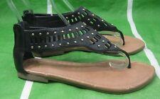 NUEVOS Para Dama Para Verano Mujer Sandalia Negro/dorado Tachuela SeXy Zapatos