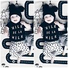 Bébé Garçon Filles Noir Haut T-shirt+Leggings Pantalon Pois Tenues Ensemble