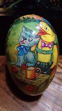 Vtg German Paper Mache Easter Egg Candy Container Cat Mouse Chick Lederhosen