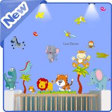 ANIMALI ADESIVI MURALI DECAL Zoo Giungla Scimmia Dinosauro Nursery per bambini stanza casa arte