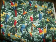 """Parrots in Paradise. Printed Cotton Fabric. 28 inches , 44 """" wide."""