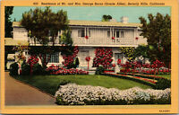 Vtg Residence Of George Burns Gracie Allen Beverly Hills California CA Postcard