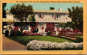 Vtg Residence Of George Burns Gracie Allen Beverly Hills California CA Postcard