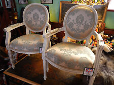 Solid Wood Armchair Single Chair Duck Egg French Country Damask Shabby Chic New