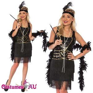 Ladies 1920s Roaring 20s Flapper Costume Sequin Ganster Deluxe Black Fancy Dress