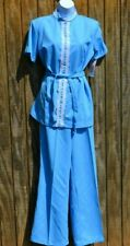 Vtg 1970's 2-Piece Flare Leg Polyester Leisure Pant Suit w/ Lace Trim, 13/14