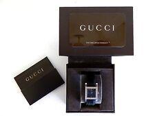 RARE Gucci Women's 7900 Serie Diamond Watch V4100 Acciaio Inox in Pelle Nera