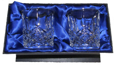 Pair of 24% Lead Crystal Whisky Mixer Glasses in Silk Lined Presentation Box