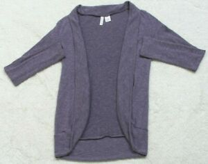 Full Tilt Purple Large Cardigan Sweater Poly Rayon Spandex Woman's Open Front