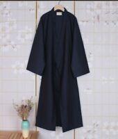 Japanese Men Kimono Yukata Long Bathrobe Pajamas Belt Cotton Robe Costume Hot