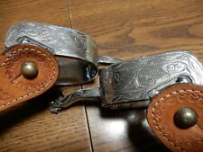 """Silver Overlay Stainless Western Spurs With Rowel & Leather Straps 1 3/8"""" Wide"""