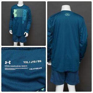 Under Armour Heatgear Blue   Green Boys Size YXL Long Sleeve Shirt Big Logo VGC