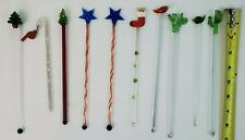 Lot of 10 Glass Drink Stirrers Bar Ware Swizzle Sticks Cocktail Mixers Vintage