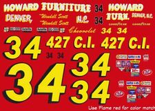 #34 Wendell Scott Howard Furniture 1972 1/64th Scale Decals