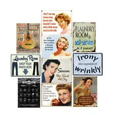 Laundry Room Rules Retro Metal Tin Signs Pin-up Plate Poster Art Wall Decor