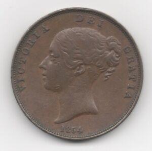 1854 ENGLISH COPPER VICTORIA PENNY - PLAIN TRIDENT/CLOSE COLON - VF+