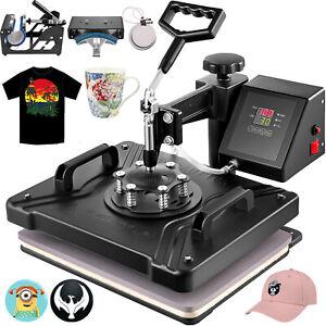 "5 in 1 Heat Press Machine Transfer 12""X15"" T-shirt Printer Cap Plate Mug Hat DIY"