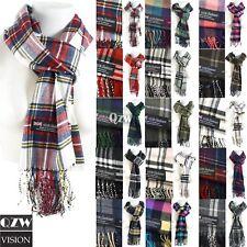 Winter Men Women Warm 100% Cashmere Scotland Made Plaid Scarf Wraps Wool Scarves